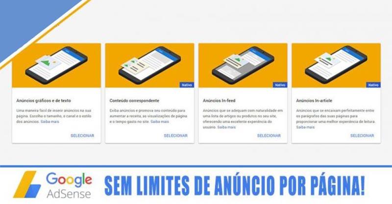 Google Adsense remove o limite de 3 anúncios por página