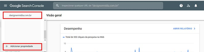 Painel do Google Search console